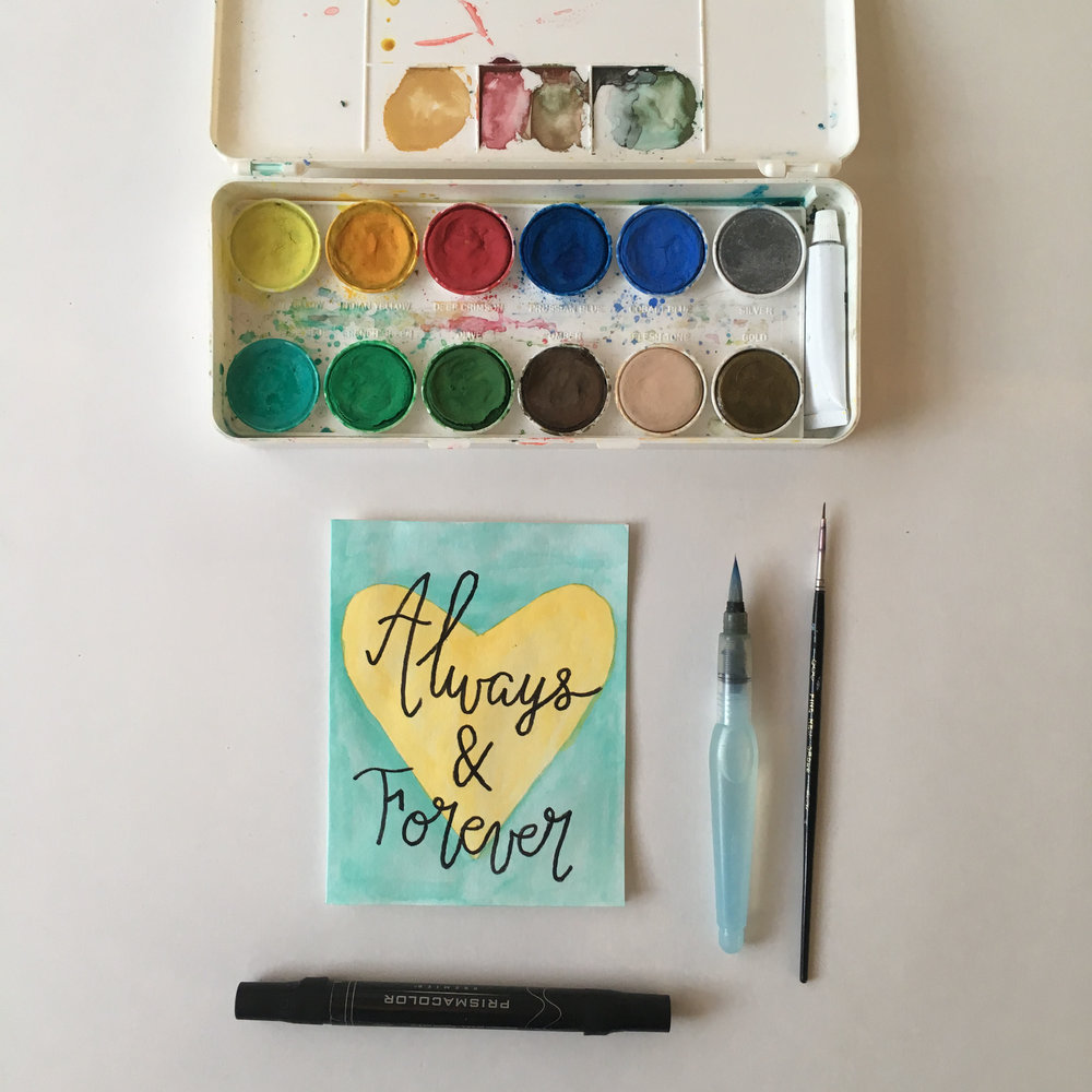 Always & Forever - Yellow-Gold and Turquoise Watercolor