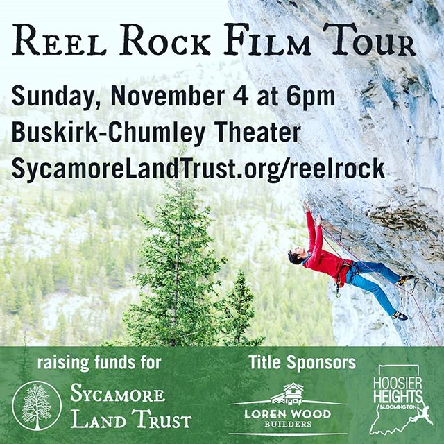 We are thrilled to sponsor this great full series for our climbers in Bloomington! This Sunday at the @buskirkchumley we are bringing you @reelrock films, with our cosponsor @lorenwoodbuilders to support the @sycamorelandtrust ! Tickets are very limited so get yours soon, and we will see you on Sunday!