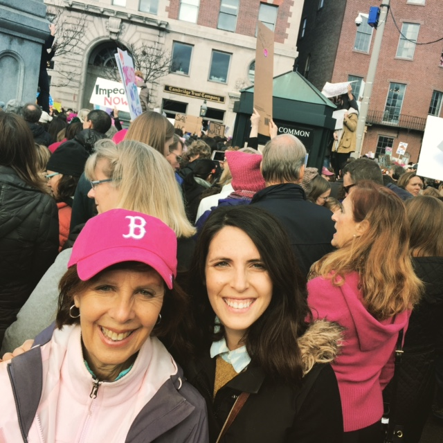 Emily Besen and her mom at the Women's March in Boston