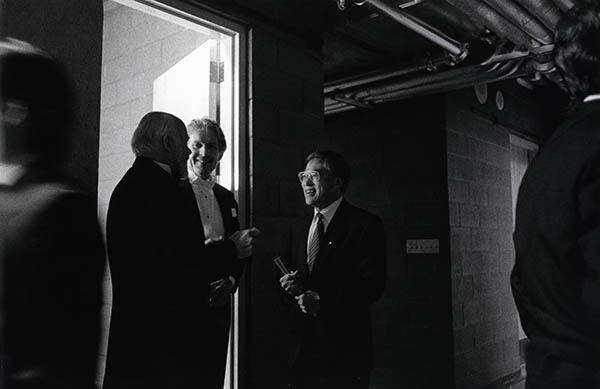 Conductors James Fankhauser (left) and Jesse Read (centre) meet with Chan Centre architect Bing Thom backstage at the inaugural concert.  Photo: Daryl Kahn Cline