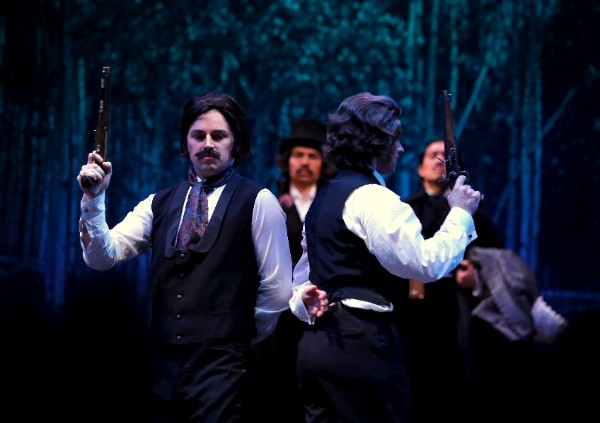 The duel scene from UBC Opera's production of Eugene Onegin. Photo: Tim Matheson