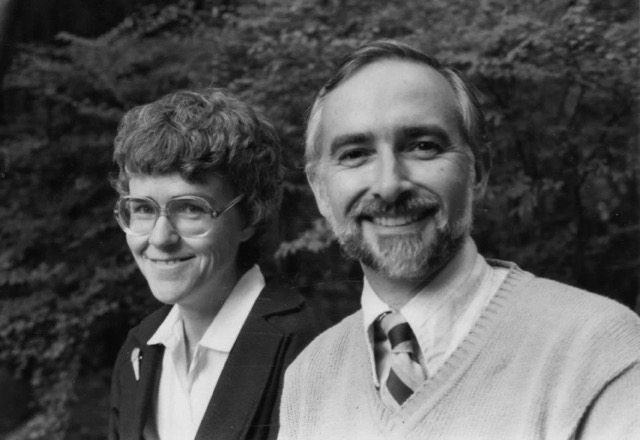Doreen Oke (BMus'68) with John.  Photo courtesy Doreen Oke