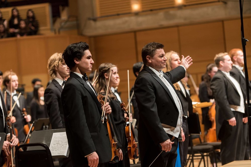 Dr. Graeme Langager, Director of UBC Choirs, conducted Mozart's  Requiem .  Photo: Paul Joseph/UBC