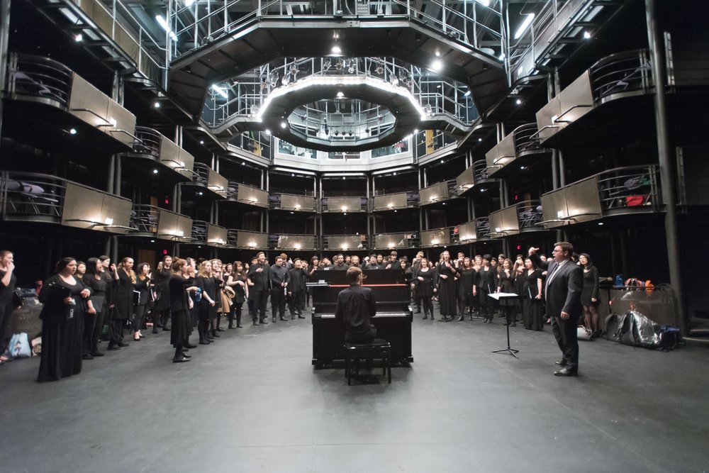 Dr. Graeme Langager rehearses UBC Choirs in the Telus Studio at the Chan Centre.  Photo: Paul Joseph/UBC