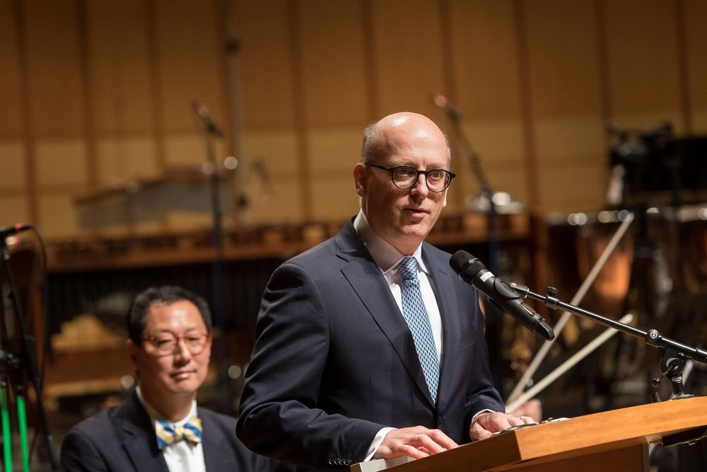 Dr. Richard Kurth, Director of the School of Music, delivers his speech at  A Song of Joys .  Photo: Paul Joseph/UBC