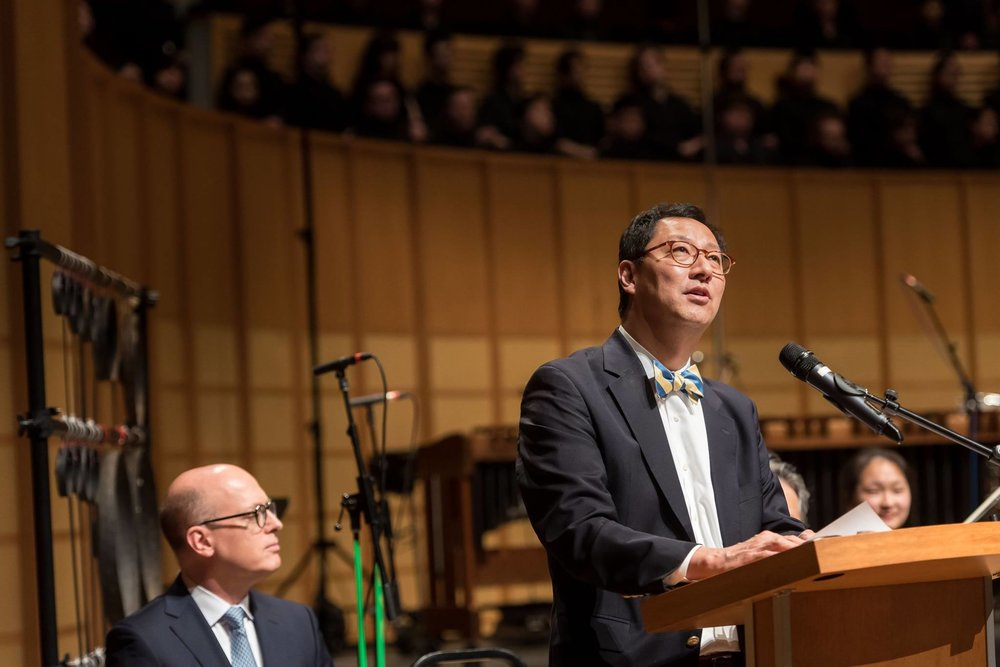 UBC President Dr. Santa Ono delivers his speech at  A Song of Joys .  Photo: Paul Joseph/UBC