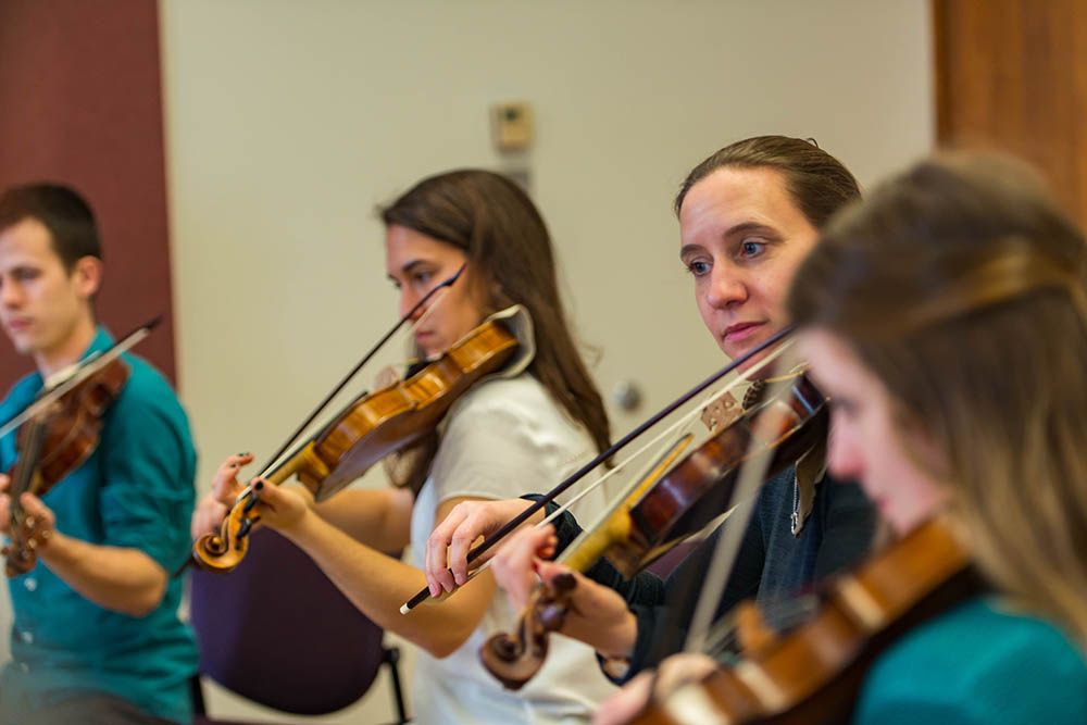 The violins of the Baroque Orchestra.  Photo: Paul Joseph/UBC