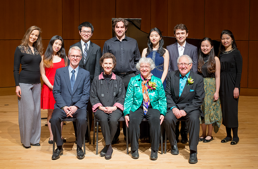 Back row, left to right: Contestants Evgenia Rabinovich, Sarah Tang, Aydan Con, Benjamin Hopkins, Shirley Cha, Thomas Pantea, Ayunia Saputro, Irene Setiawan.  Front row, left to right: Jury members David Vandereyk and Robin McCabe, and patrons Ellen Silverman and Robert Silverman. Photo credit: Takumi Hayashi/UBC School of Music