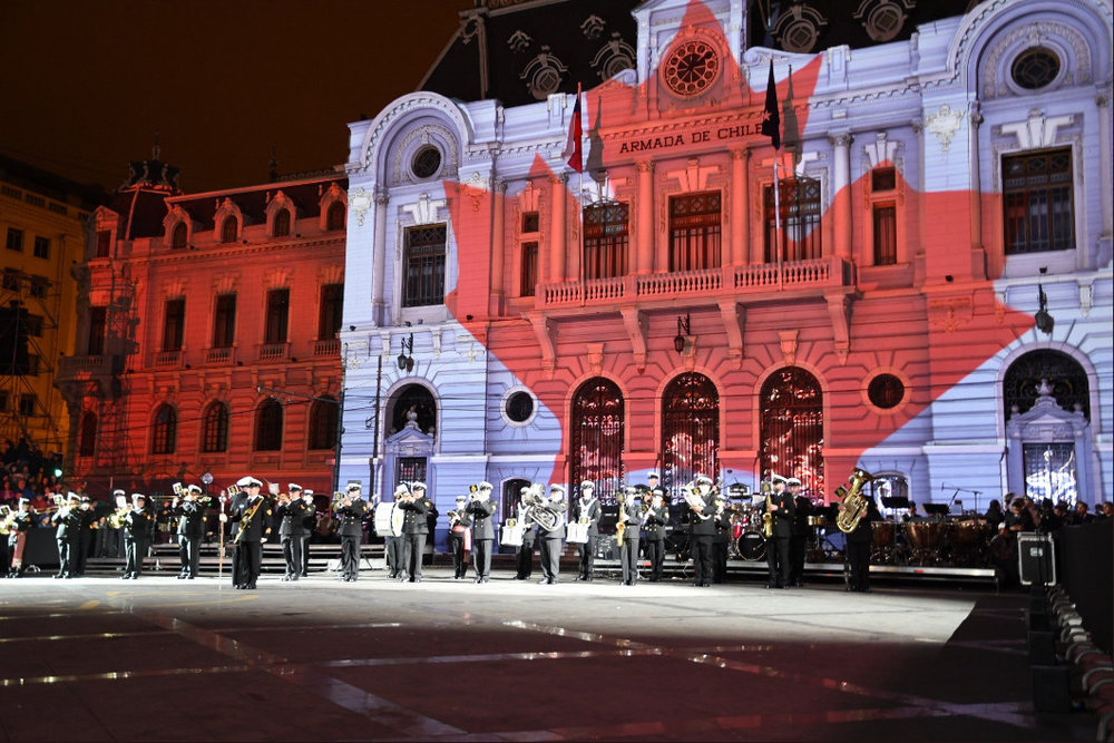 The Royal Canadian Navy's Naden Band performs in Chile. Photo: MARPAC Imaging Services
