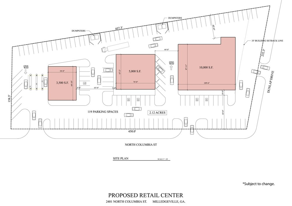 2401 N Columbia St Milledgeville proposed layout