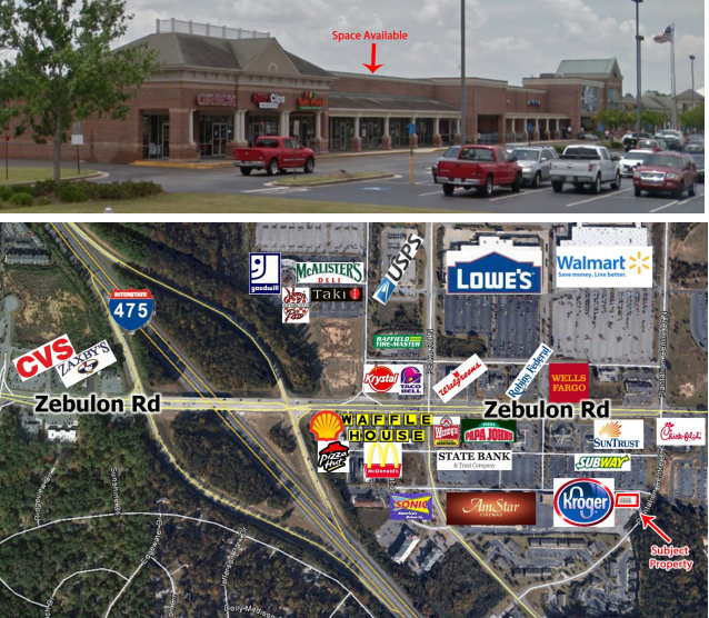 5928 Zebulon Road, Macon GA space for lease in Kroger Shopping Center by Trip Wilhoit & Patty Burns, Fickling & Co.