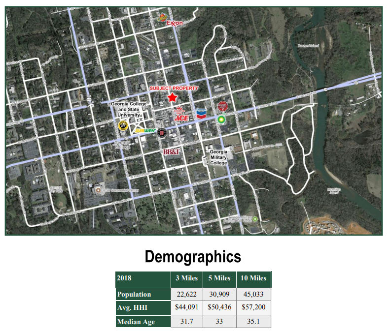 Aerial and Demographics: 221 N Wayne St Milledgeville GA  | GeorgiaCommercialRealEstate.net