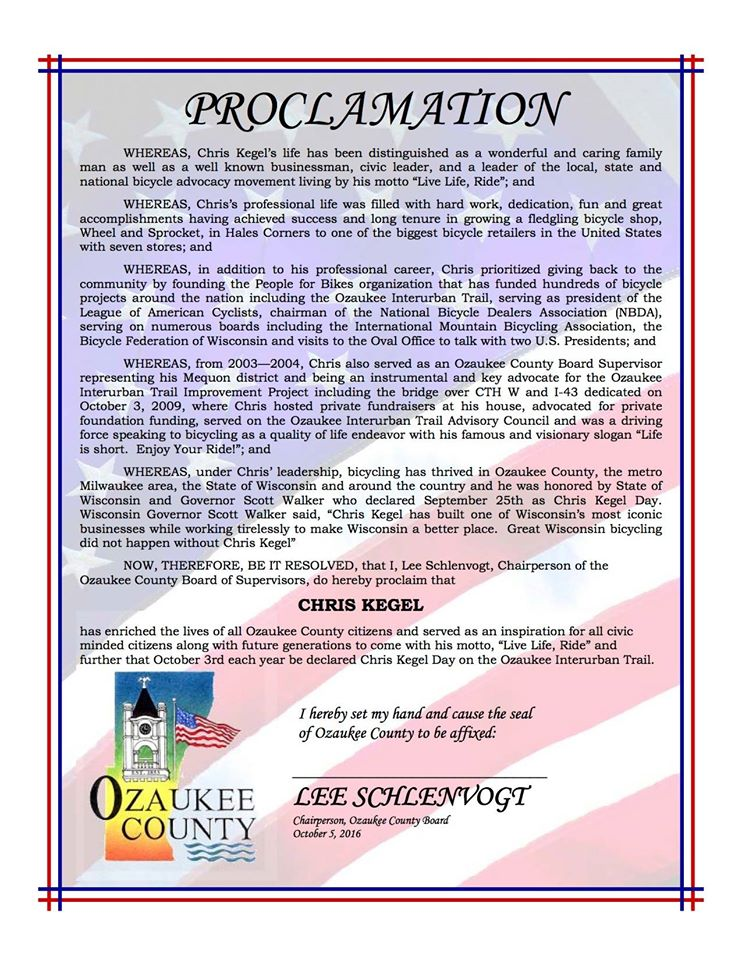 The Official Proclamation from Ozaukee County