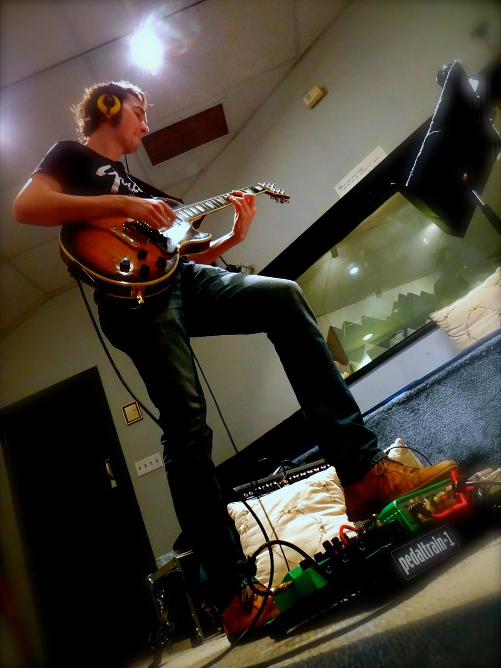Tracking electric guitar at Theta Sound Studios