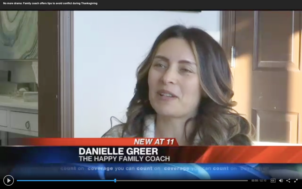 WRCBv News Channel 3 - No More Drama: Family Coach Offers Tips to Avoid Conflict During Thanksgiving. November 2017 - WRCBtv News Channel 3 featured our own Happy Family Coach, Danielle Alvarez Greer, discussing helpful tips and insight to avoiding Holiday conflict.