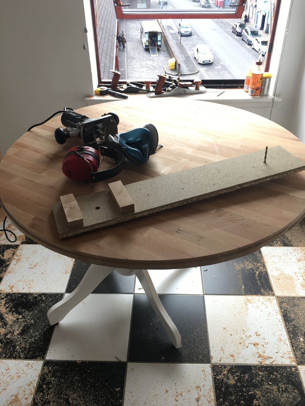 Router trammel jig and the mess I made.