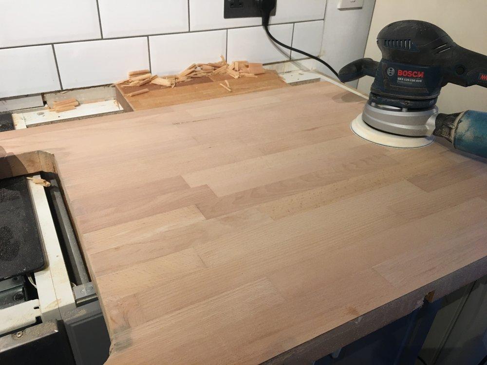 60 grit sanding after flattening.