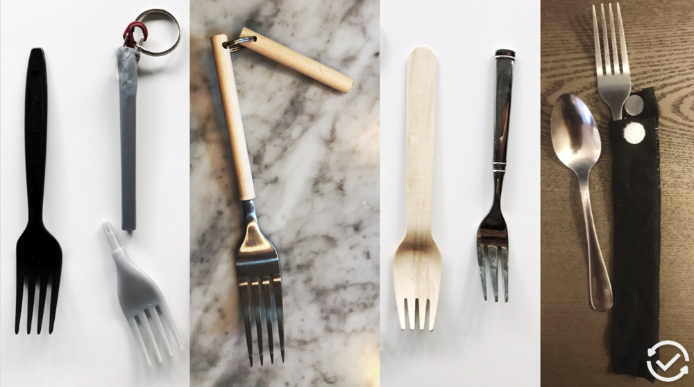 A sampling of the fork prototypes and options I presented to users in field research