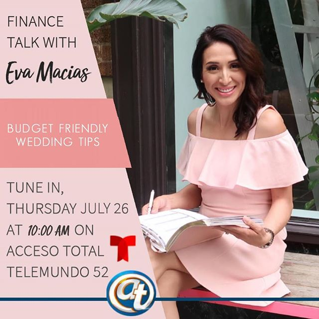 Coming tomorrow to 📺 @accesototalshow on @telemundo ✨✨💰 Budget Friendly Wedding Tips 💛 See you on TV at 10:00am PST.