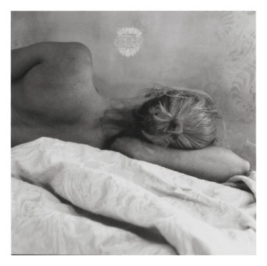 Katonah , 1998  (blonde lying on sheets)  gelatin silver print