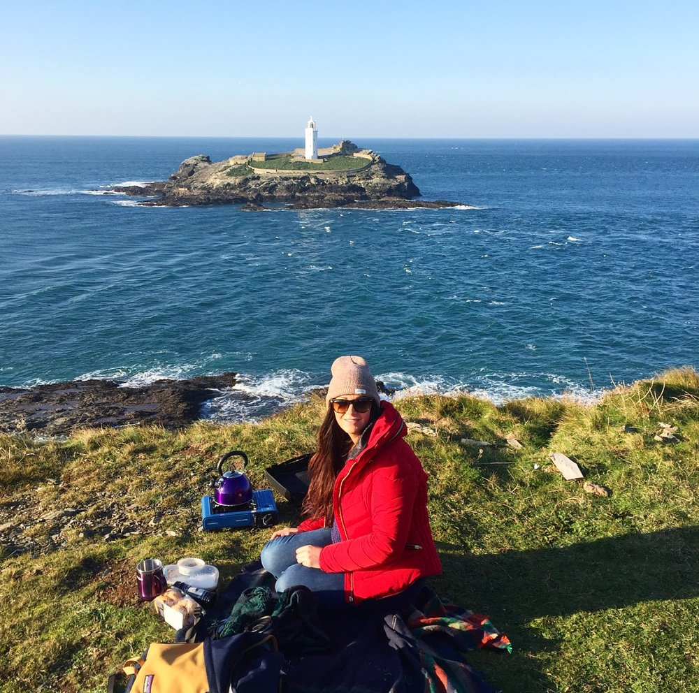 Picnic overlooking Godrevy point lighthouse