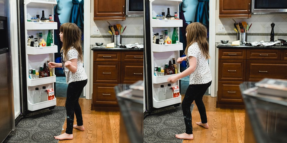 denver family photographer girl dancing fridge