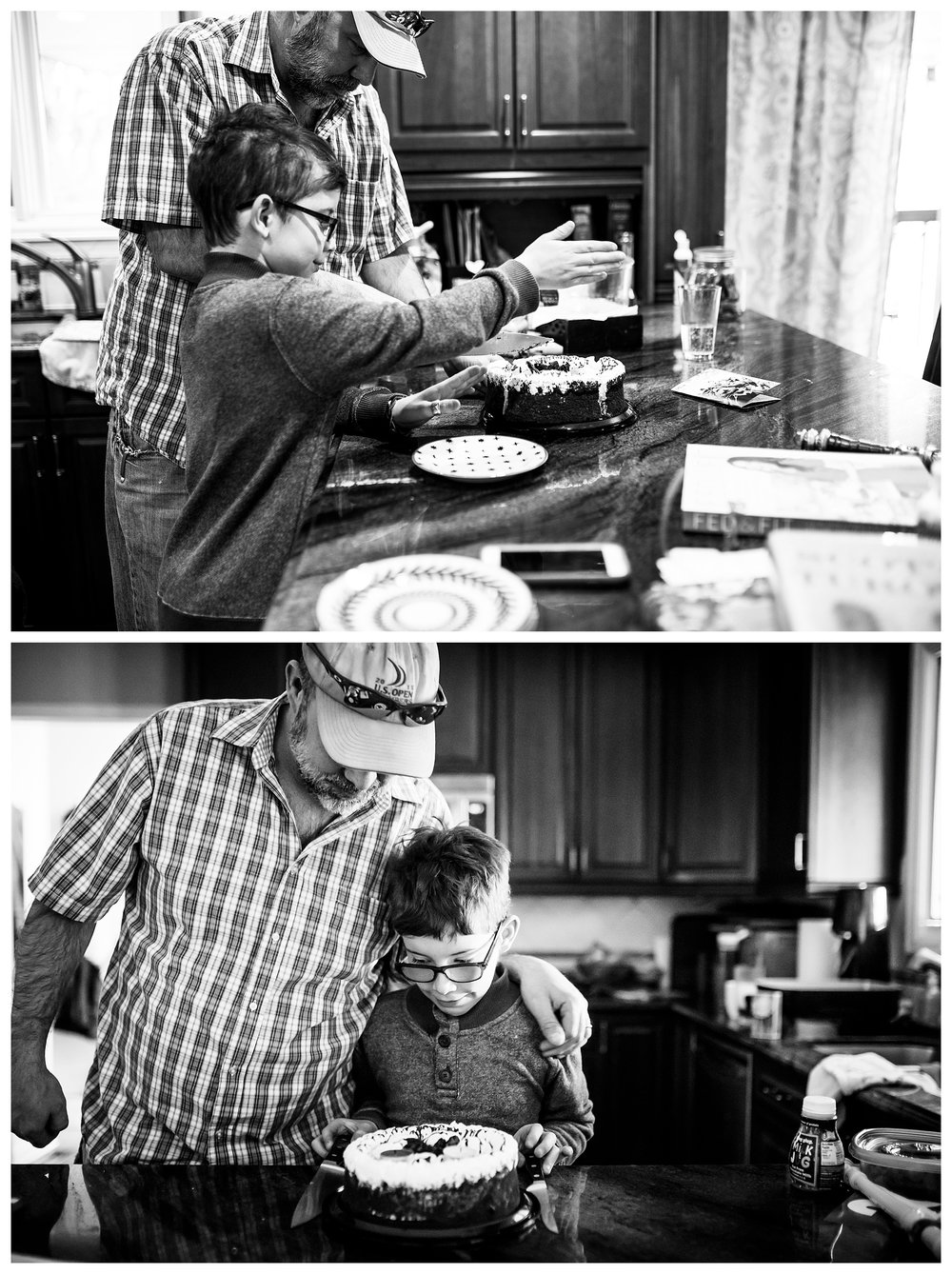 Denver candid family photographer with boy cutting birthday cake with dad.
