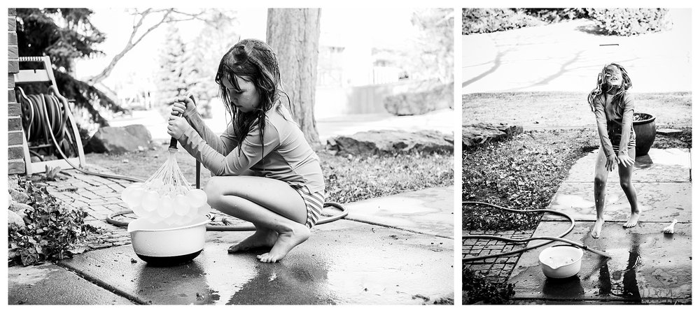 denver candid family photographer kids filling water balloons in Greenwood Village, CO