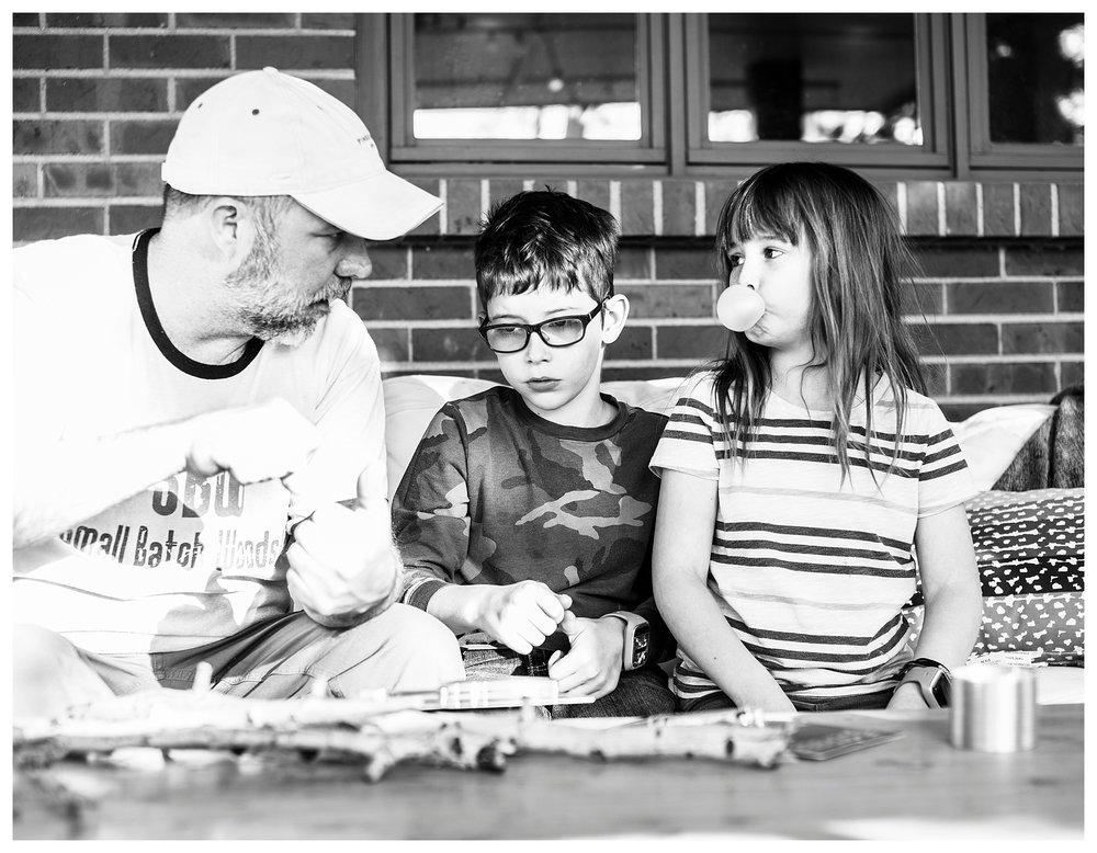 Denver candid family photographer kids' knife safety Greenwood Village, CO