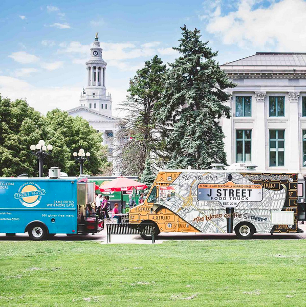 Food trucks line up at Denver's Civic Center Park for Civic Center Eats 2017. Denver Family Photographer | Lifestyle photography