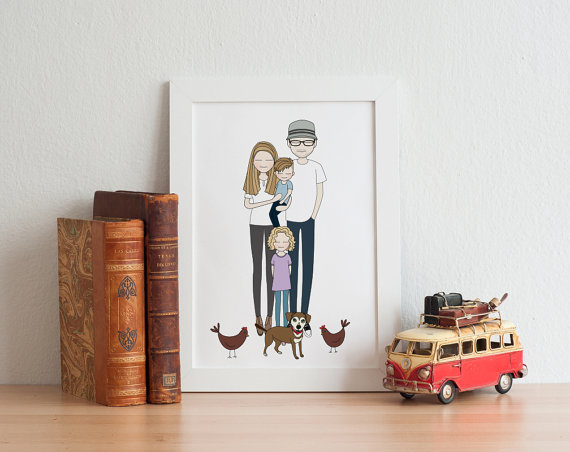 Custom family portrait from etsy seller, Peradesign   via Etsy