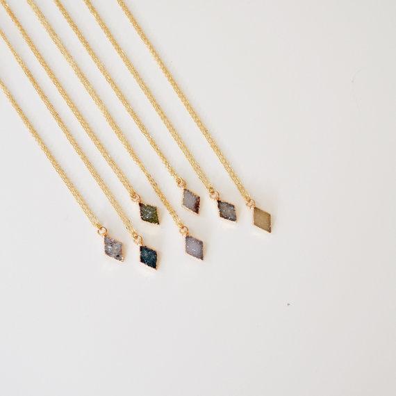 """""""Small Druzy Diamond Necklace"""" by  Harper Made  via Etsy"""