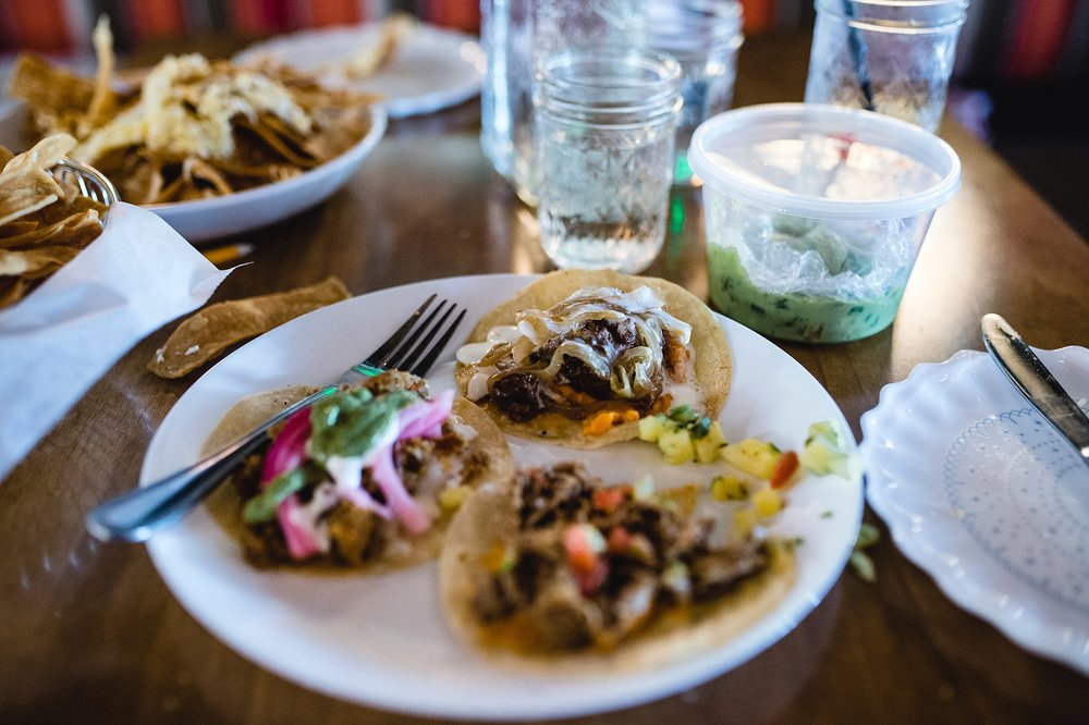 Street tacos from Comida Cantina in the Stanley Marketplace in Stapleton, Denver, CO.  The Stanley Marketplace is a very family-friendly desitnation for a night out! Photo by Kristiina Craven Photography.