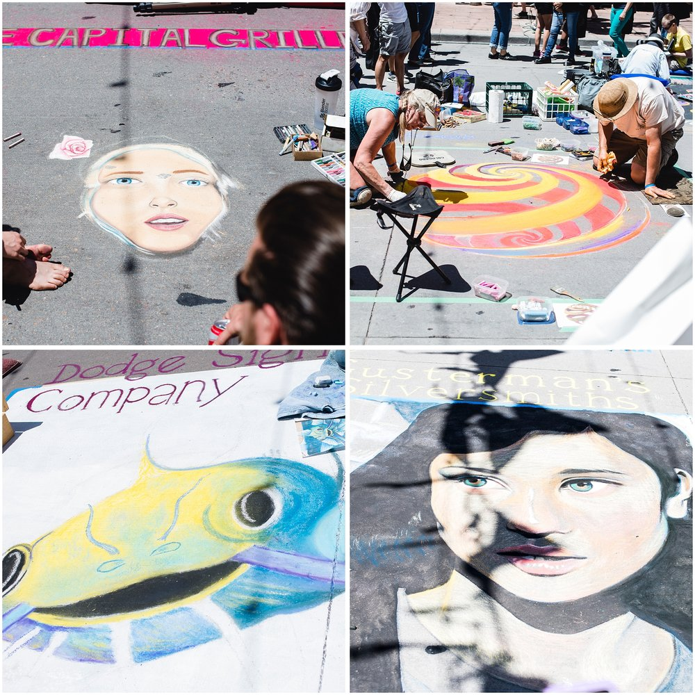 Examples of works in progress at Denver's 2017 Chalk Art Festival in Larimer Square as shot by Kristiina Craven Photography.