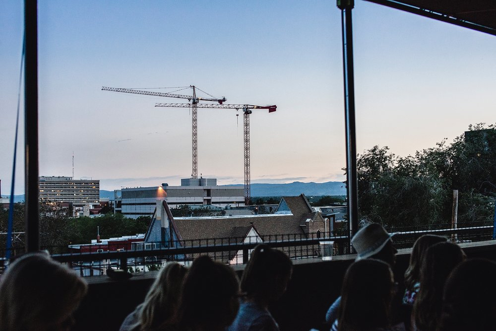 The sky and moutain views from The Metlo in Denver at the June Tuesday's Together meeting. Photo by Kristiina Craven Photography.
