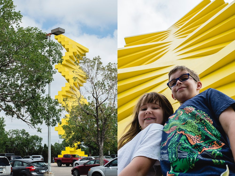 "The parking for the summer Denver Flea was in the design district next to the ""articulated wall"" sculpture by Kristiina Craven Photography."