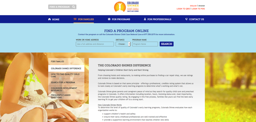Find a daycare or preschool for your child in Colorado using their Colorado Shines database.