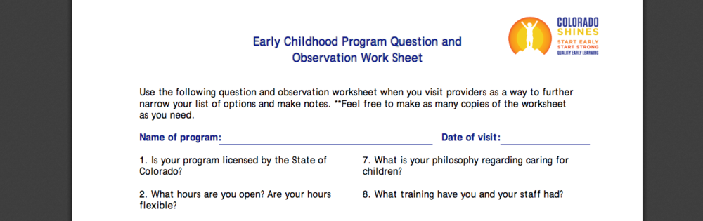 Early Childhood Program Question and Observation Work Sheet from Colorado Shines database search.