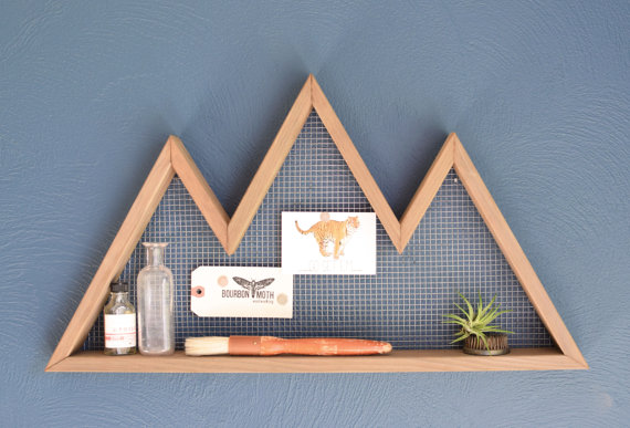 Unique baby shower gift of mountain shaped wall shelf from etsy.