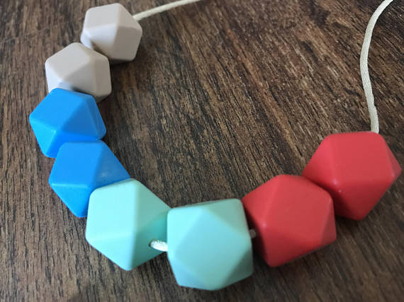 Stylish necklace for new moms that baby's can use as a teether from Teething Treasures.