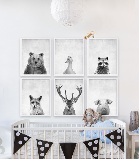 Beautiful woodland animal prints for baby's nursery or kid's room.