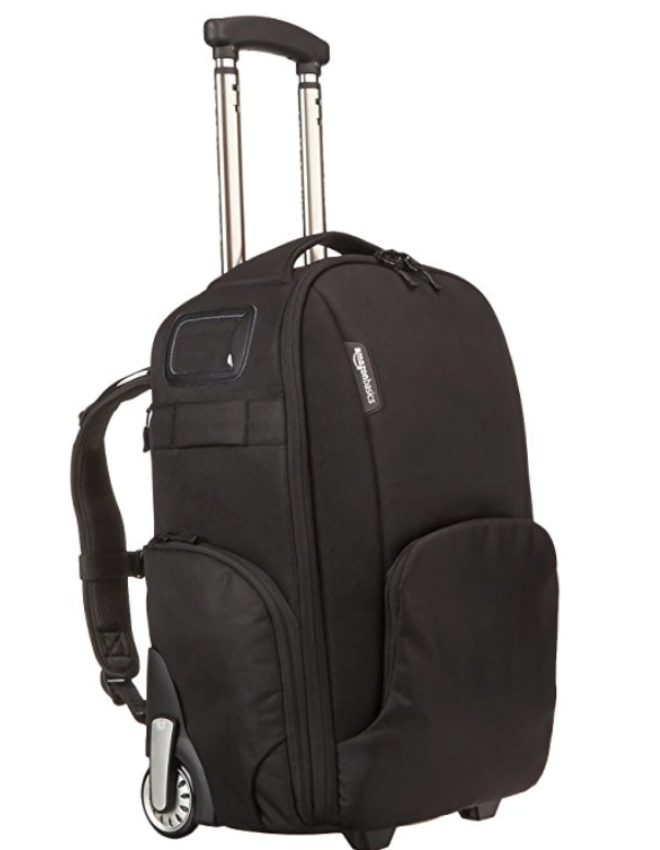This AmazonBasics Convertible Rolling Camera Backpack will be a game changer while traveling with kids this year!  I need my gear close to me :) | GettingUnschooled.com
