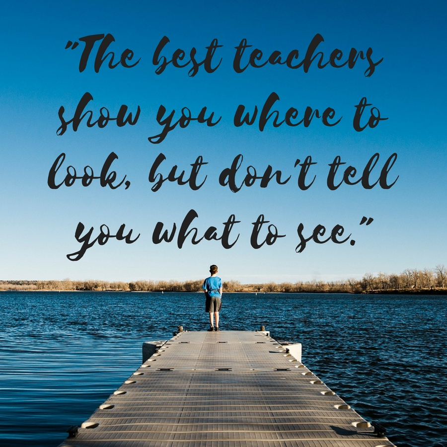 """The best teachers show you where to look, but don't tell you what to see"" is one of my favorite quotes to inspire me while unschooling.  