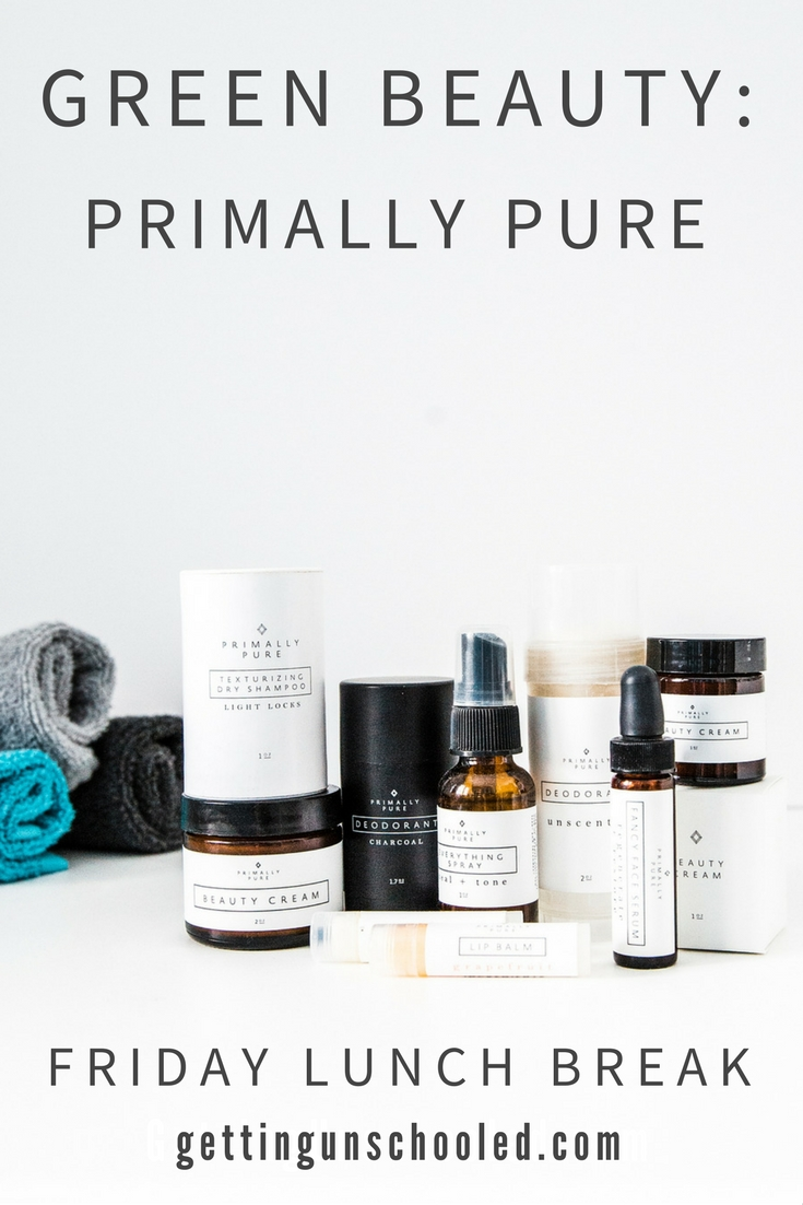 On my quest to cure my vertigo, I have been transitioning my beauty and skincare products to toxic-free ingredients.  I'm reviewing the brands that I've been using and first up is Primally Pure.  I go over my favorite products (and a few that I won't be reordering!). | GettingUnschooled.com | #greenbeauty #nontoxic