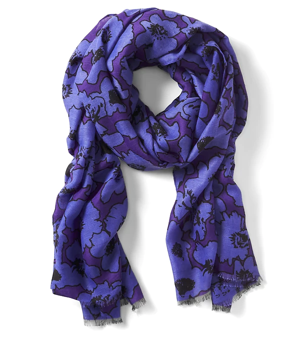 This deep purple flower print scarf would suit  every skin tone and it's the perfect pop of color for any over-40 wardrobe.  | Getting Unschooled is a blog about unschooling, over-40 fashion, and non-toxic beauty.