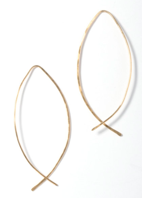 I love this unique take on the classic gold hoop earrings.  This over-40 mama would rock these for a date night or a casual day with the kids.  | Getting Unschooled is a blog about unschooling, over-40 fashion, and non-toxic beauty. | Denver, Colorado