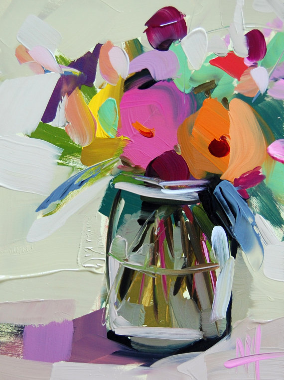 Country Flowers in Jar original still life oil painting by Angela Moulton | Getting Unschooled is a family lifestyle blog about unschooling, over 40 fashion, and non-toxic beauty.