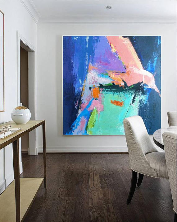 Beautiful, very large abstract art from Trend Gallery on Etsy.  | Getting Unschooled is a family lifestyle blog about an unschooling family in Denver, Co.  Kristiina writes about unschooling, over 40 fashion, and non-toxic beauty.