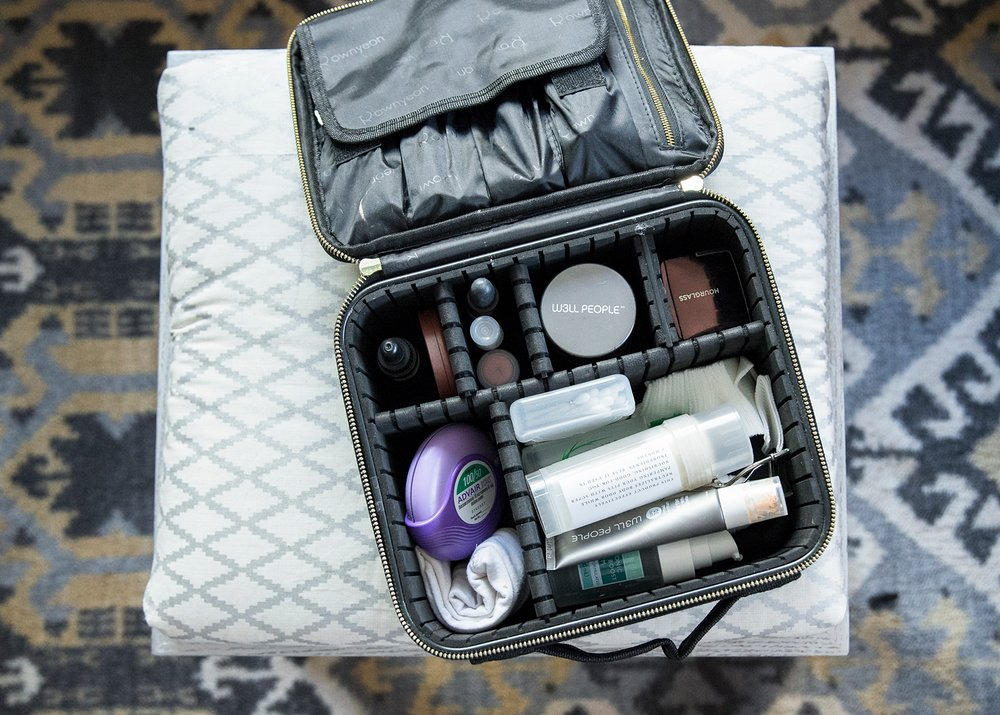 This picture just makes me so happy--all of my skincare and makeup products are organized and safe for traveling.  It's the perfect toiletry bag!
