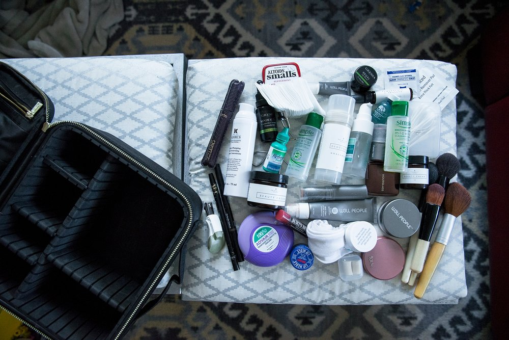 Look at all of the products that fit inside the ROWNYEON mini makeup travel train case!  It looks small, but holds a ton of stuff :)  It is seriously, the best makeup travel bag I've ever used--plus, it's super cheap!